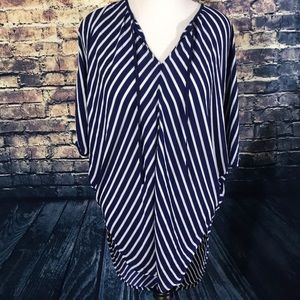 Massimo Blue & White Stripes Short Sleeve Bat Wing